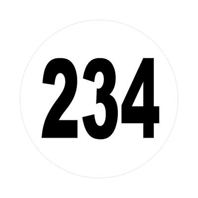 number 234 white black sticker