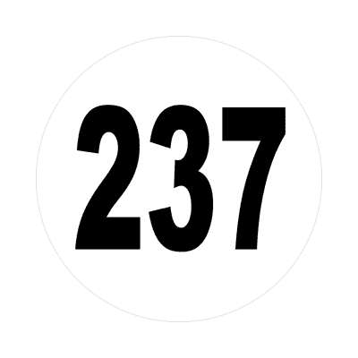 number 237 white black sticker