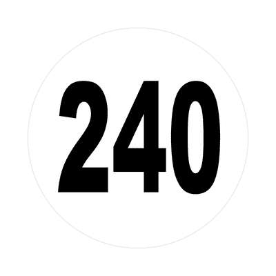 number 240 white black sticker