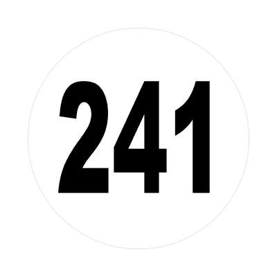 number 241 white black sticker