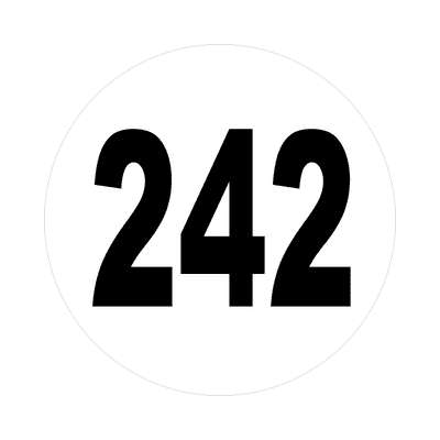 number 242 white black sticker