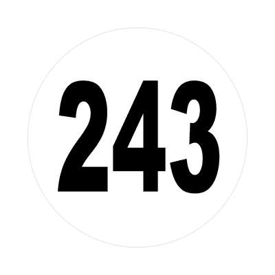 number 243 white black sticker