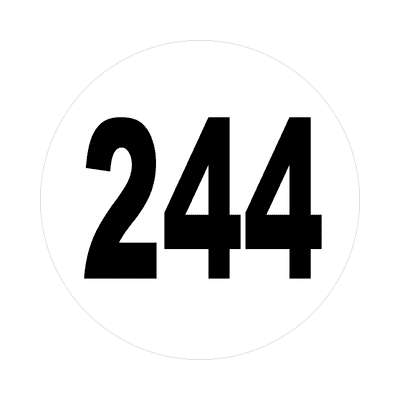 number 244 white black sticker