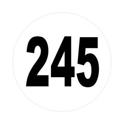 number 245 white black sticker