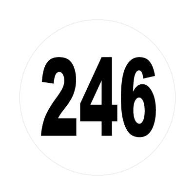 number 246 white black sticker