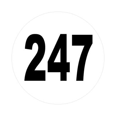 number 247 white black sticker