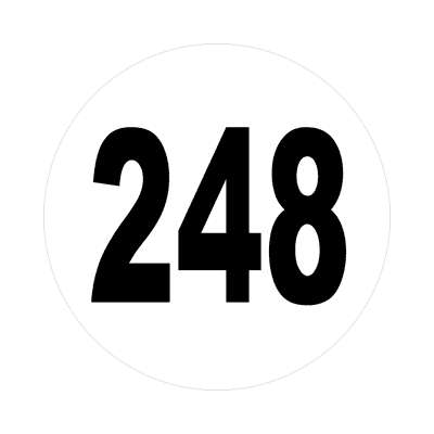 number 248 white black sticker