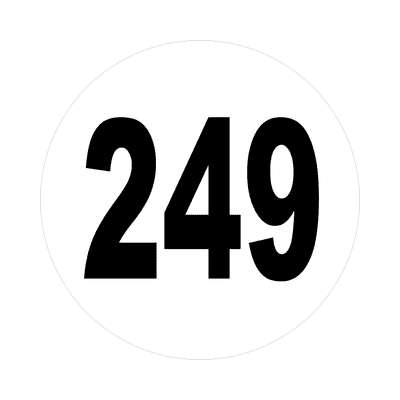 number 249 white black sticker