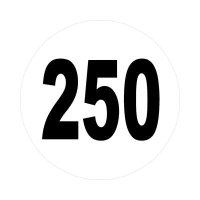 number 250 white black sticker