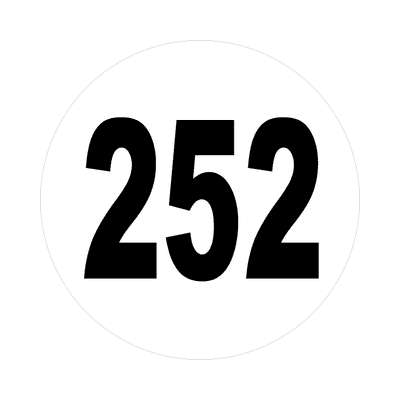 number 252 white black sticker