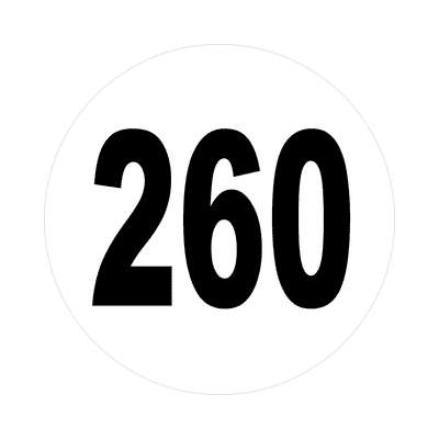 number 260 white black sticker