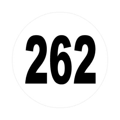 number 262 white black sticker