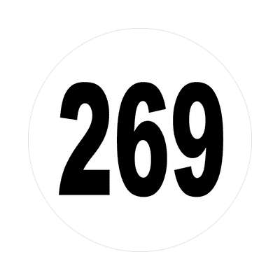 number 269 white black sticker