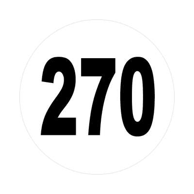 number 270 white black sticker