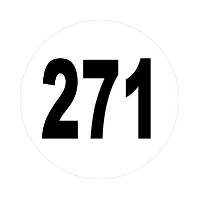 number 271 white black sticker