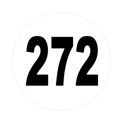 number 272 white black sticker