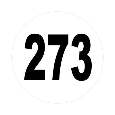 number 273 white black sticker