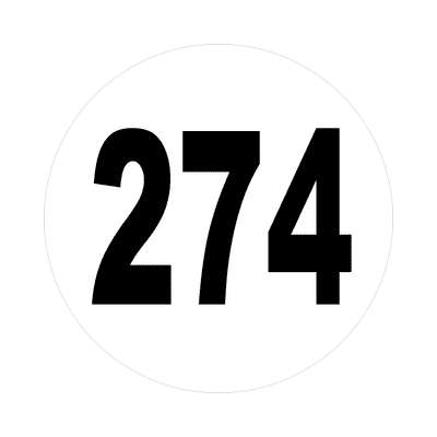 number 274 white black sticker