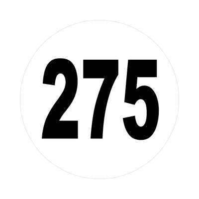 number 275 white black sticker