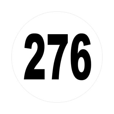 number 276 white black sticker