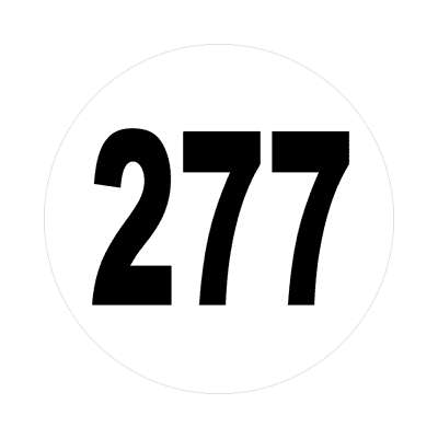number 277 white black sticker