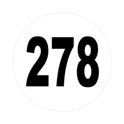 number 278 white black sticker