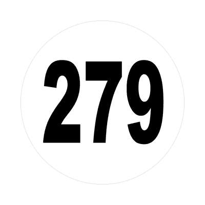 number 279 white black sticker