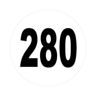 number 280 white black sticker