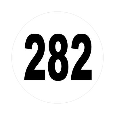 number 282 white black sticker
