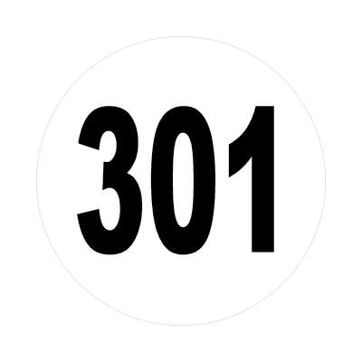number 301 white black sticker