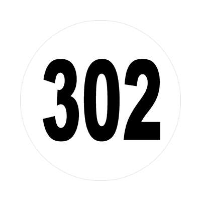 number 302 white black sticker