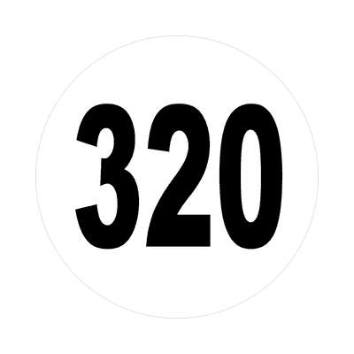 number 320 white black sticker