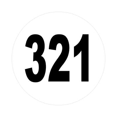 number 321 white black sticker