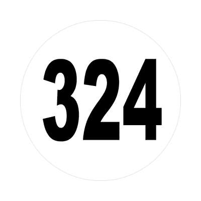 number 324 white black sticker