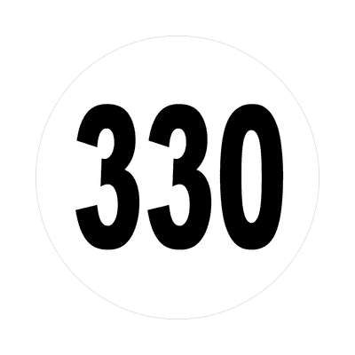 number 330 white black sticker