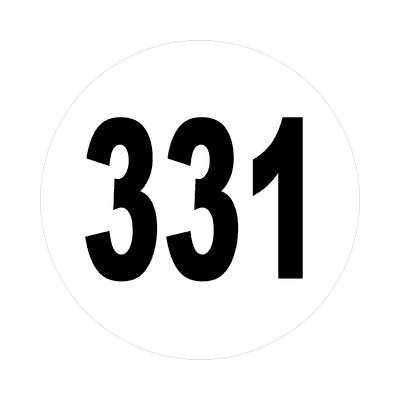 number 331 white black sticker