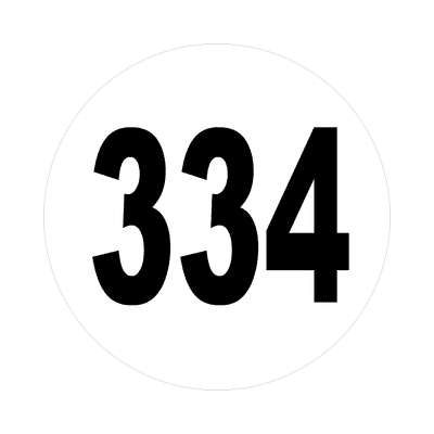 number 334 white black sticker