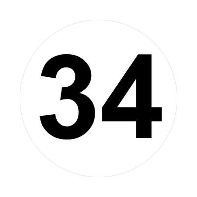 number 34 white black sticker