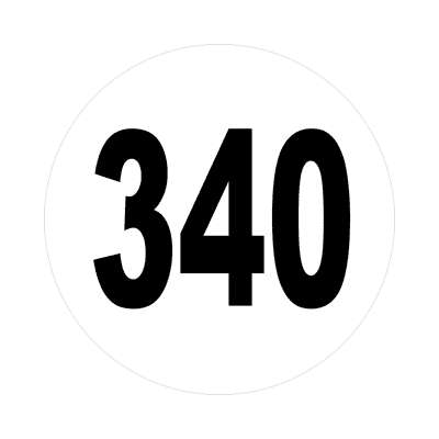 number 340 white black sticker
