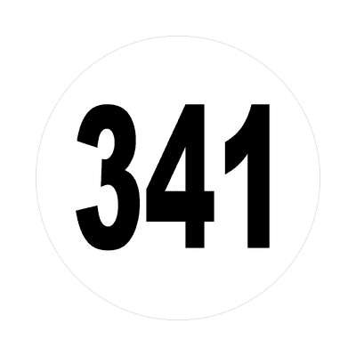 number 341 white black sticker