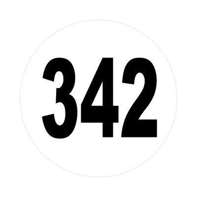 number 342 white black sticker