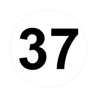 number 37 white black sticker