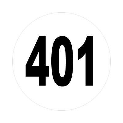 number 401 white black sticker