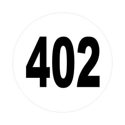 number 402 white black sticker