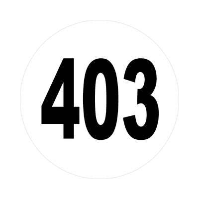number 403 white black sticker