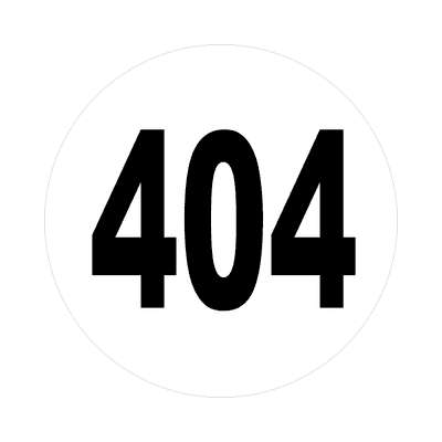 number 404 white black sticker
