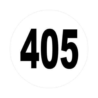 number 405 white black sticker
