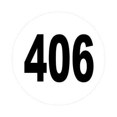 number 406 white black sticker