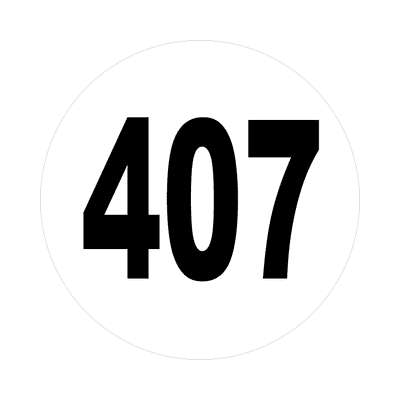 number 407 white black sticker