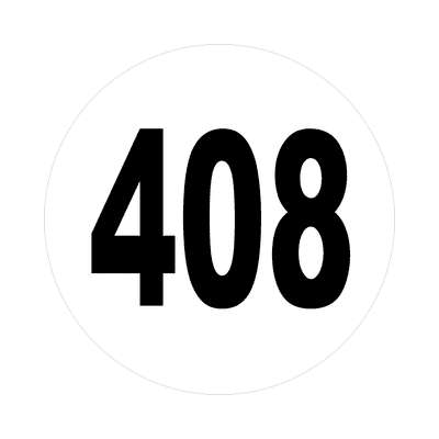 number 408 white black sticker